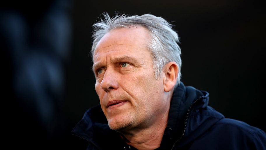 FREIBURG IM BREISGAU, GERMANY - NOVEMBER 25:  Christian Streich, head coach of Freiburg looks on before the Bundesliga match between Sport-Club Freiburg and SV Werder Bremen at Schwarzwald-Stadion on November 25, 2018 in Freiburg im Breisgau, Germany.  (Photo by Alex Grimm/Bongarts/Getty Images)