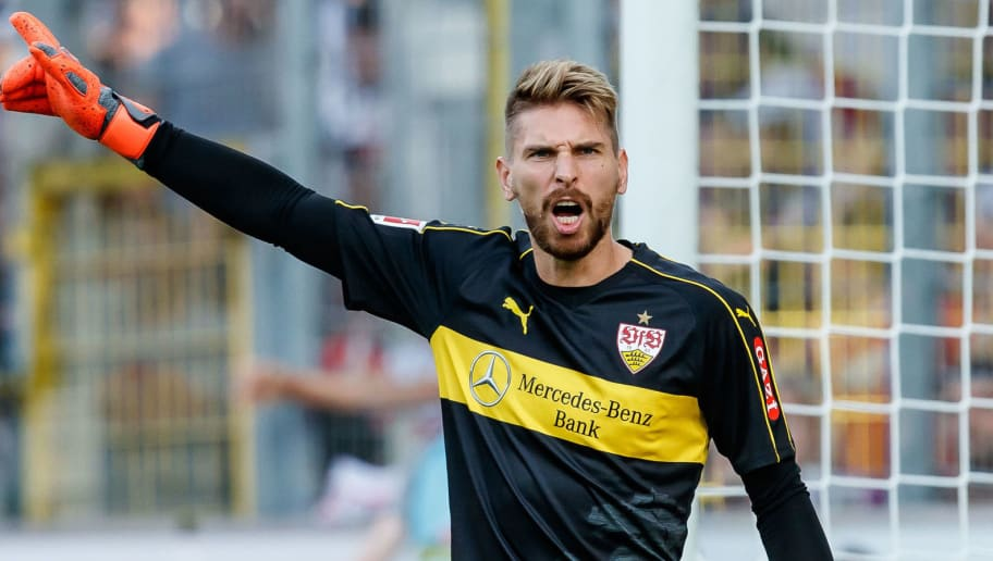 FREIBURG, GERMANY - SEPTEMBER 16: Goalkeeper Ron-Robert Zieler of VfB Stuttgart gestures during the Bundesliga match between Sport-Club Freiburg and VfB Stuttgart on September 16, 2018 in Freiburg, Germany. (Photo by TF-Images/Getty Images)
