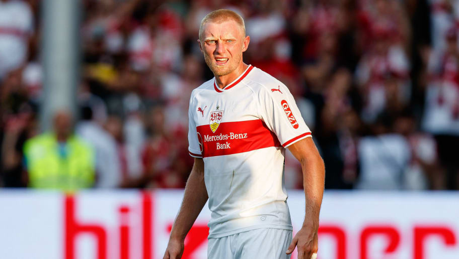 FREIBURG, GERMANY - SEPTEMBER 16: Andreas Beck of VfB Stuttgart looks on during the Bundesliga match between Sport-Club Freiburg and VfB Stuttgart on September 16, 2018 in Freiburg, Germany. (Photo by TF-Images/Getty Images)