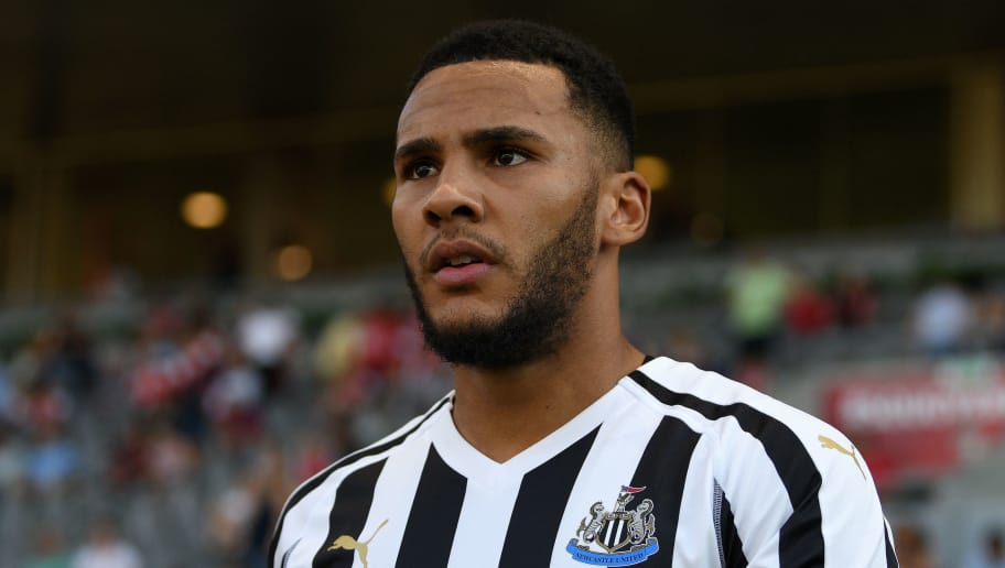 BRAGA, PORTUGAL - AUGUST 01: Jamaal Lascelles of Newcastle during the Pre-season friendly between SC Braga and Newcastle on August 1, 2018 in Braga, Portugal. (Photo by Octavio Passos/Getty Images)