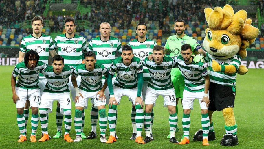 LISBON, PORTUGAL - APRIL 12: Sporting initial team during the match between Sporting CP and Atletico Madrid - UEFA Europa League Quarter Final Leg Two at the Estadio Jose Alvalade on April 12, 2018 in Lisbon, Portugal. (Photo by Carlos Rodrigues/Getty Images)