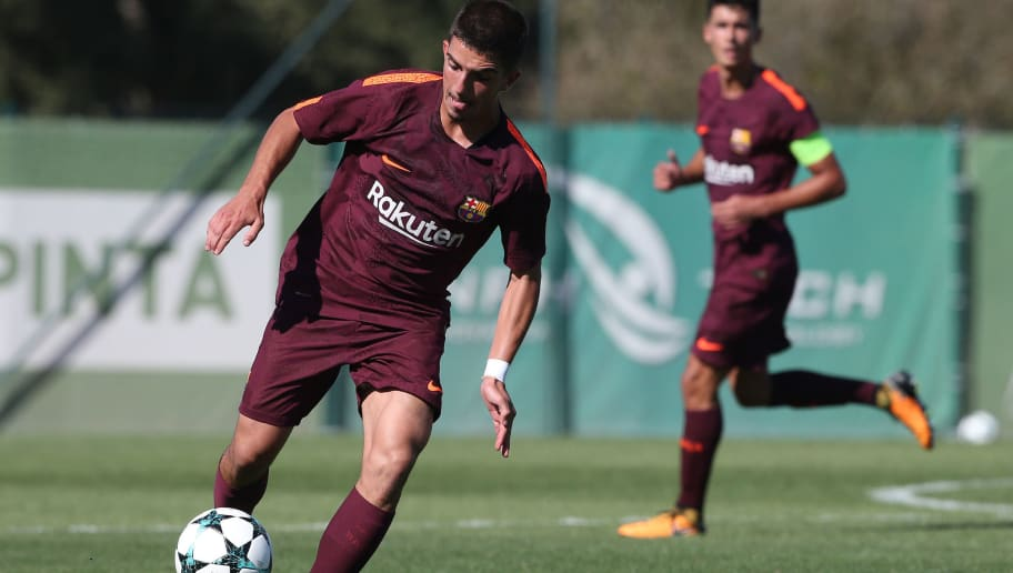 ALCOCHETE, PORTUGAL - SEPTEMBER 27: FC Barcelona's Monchu in action during the UEFA Youth League match between Sporting CP and FC Barcelona at CGD Stadium Aurelio Pereira on September 27, 2017 in Alcochete, Portugal.  (Photo by Gualter Fatia/Getty Images)