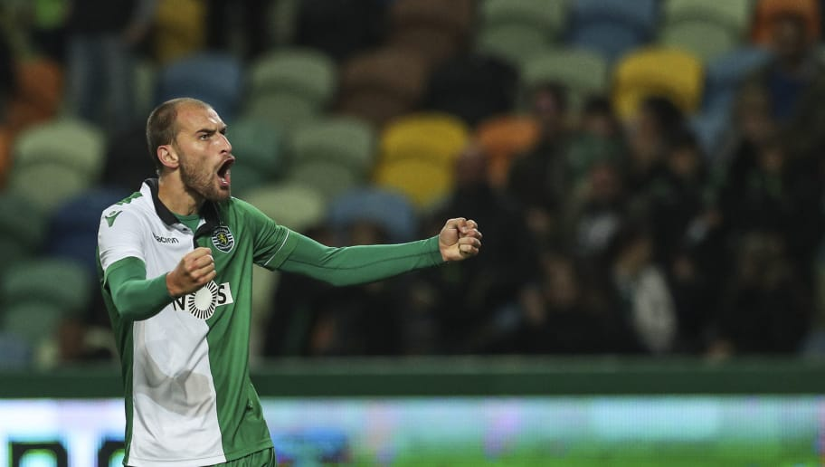 LISBON, PORTUGAL - DECEMBER 19: Bas Dost of Sporting CP celebrates scoring Sporting CP fourth goal during the Portuguese Cup match between Sporting CP and Rio Ave FC at  on December 19, 2018 in Lisbon, Portugal. (Photo by Carlos Rodrigues/Getty Images)