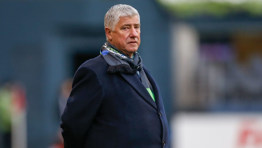 SEATTLE, WA - MARCH 06:  Head coach Sigi Schmid of the Seattle Sounders FC looks on during the match against Sporting Kansas City at CenturyLink Field on March 6, 2016 in Seattle, Washington. Sporting Kansas City defeated the Sounders 1-0.  (Photo by Otto Greule Jr/Getty Images)