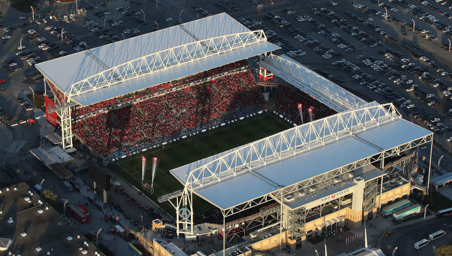 TORONTO, CANADA - MAY 3: An aerial view of BMO Field home of the Toronto FC soccer club of Major League Soccer on May 3, 2017 in Toronto, Ontario, Canada. (Photo by Tom Szczerbowski/Getty Images) *** Local Caption ***