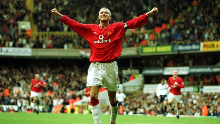 29 Sep 2001:  Dacid Beckham of Manchester United celebrates after scoring the 5th goal during the FA Barclaycard Premiership match between Tottenham Hotspur and Manchester United at White Hart Lane, London.  Mandatory Credit: Ben Radford/ALLSPORT
