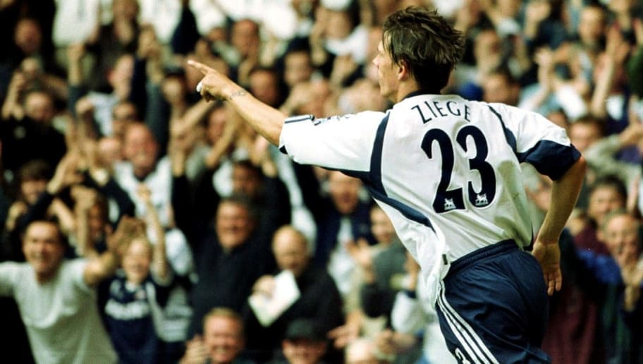 9 Sep 2001:  Christian Ziege of Totthenham Hotspur celebrates the first goal during the FA Barclaycard Premiership match between Totthenham Hotspur and Southampton at White Hart Lane, London. Mandatory Credit: Clive Mason/ALLSPORT