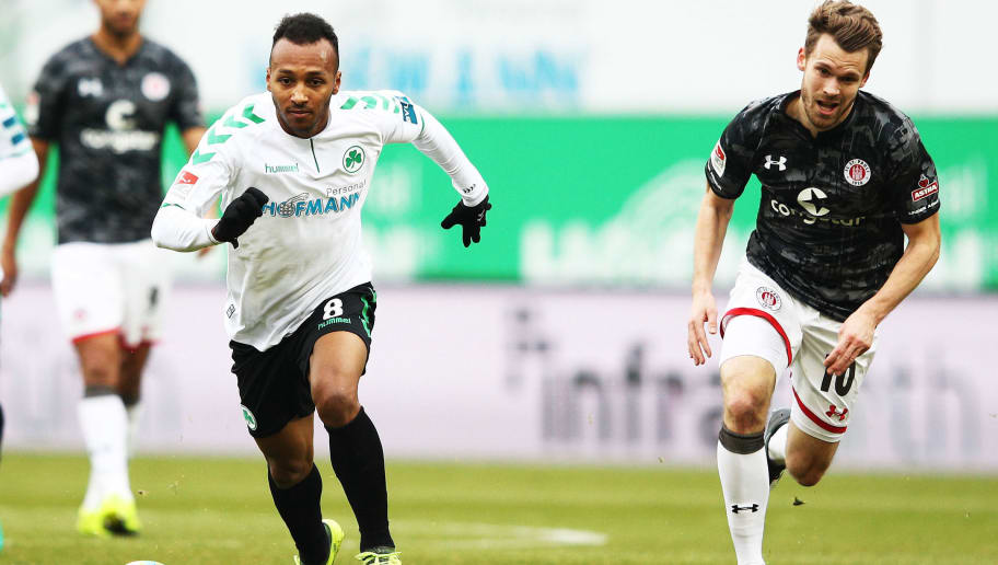 FUERTH, GERMANY - NOVEMBER 26:  Julian Green of SpVgg Greuther Fuerth in action during the Second Bundesliga match between SpVgg Greuther Fuerth and FC St. Pauli at Sportpark Ronhof Thomas Sommer on November 26, 2017 in Fuerth, Germany.  (Photo by Adam Pretty/Bongarts/Getty Images)