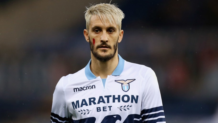 ROME, ITALY - NOVEMBER 25:  Luis Alberto of SS Lazio with the face painted against the violence of women during the Serie A match between SS Lazio and AC Milan at Stadio Olimpico on November 25, 2018 in Rome, I taly.  (Photo by Paolo Bruno/Getty Images)