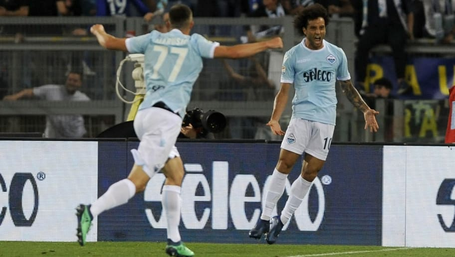 ROME, ROMA - MAY 20:  Felipe Anderson of SS Lazio celebrates a second goal during the serie A match between SS Lazio and FC Internazionale at Stadio Olimpico on May 20, 2018 in Rome, Italy.  (Photo by Marco Rosi/Getty Images)