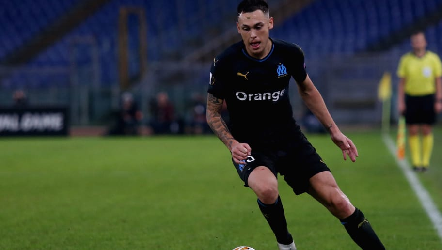 ROME, ITALY - NOVEMBER 08:  Lucas Ocampos of Olympique de Marseille in action during the UEFA Europa League Group H match between SS Lazio and Olympique de Marseille at Stadio Olimpico on November 8, 2018 in Rome, Italy.  (Photo by Olympique de Marseille/Getty Images)