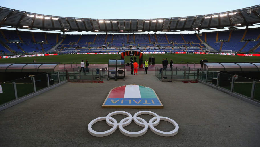 ROME, ITALY - APRIL 05:  A general view of the Stadio Olimpico before the UEFA Europa League quarter final leg one match between SS Lazio and RB Salzburg at Stadio Olimpico on April 5, 2018 in Rome, Italy.  (Photo by Paolo Bruno/Getty Images)
