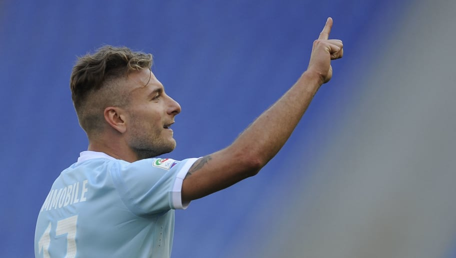 ROME, ROME - APRIL 22:  Ciro Immobile of SS lazio celebrates a fourth goal during the serie A match between SS Lazio and UC Sampdoria at Stadio Olimpico on April 22, 2018 in Rome, Italy.  (Photo by Marco Rosi/Getty Images)