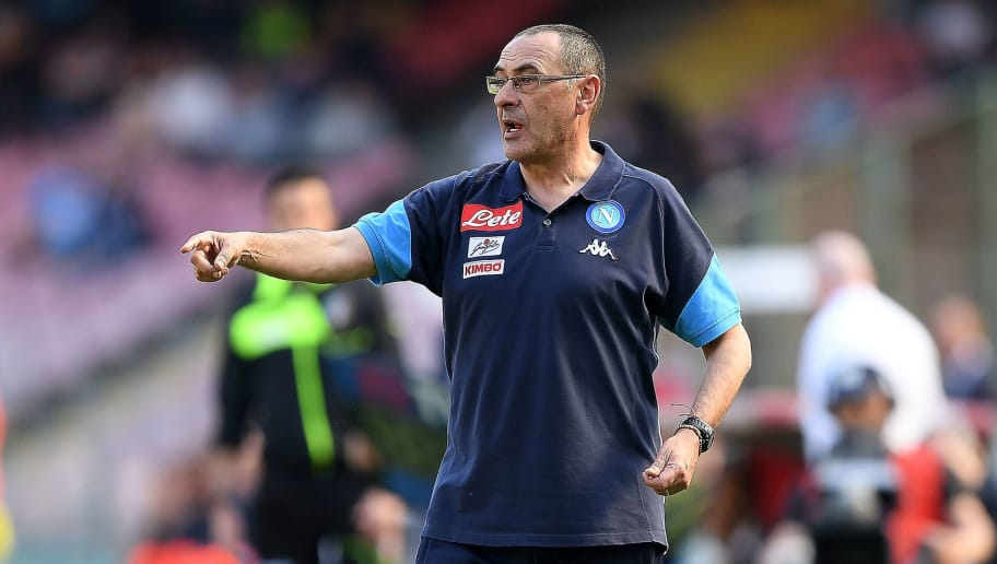 NAPLES, ITALY - APRIL 08:  Coach of SSC Napoli Maurizio Sarri gestures during the serie A match between SSC Napoli and AC Chievo Verona at Stadio San Paolo on April 8, 2018 in Naples, Italy.  (Photo by Francesco Pecoraro/Getty Images)
