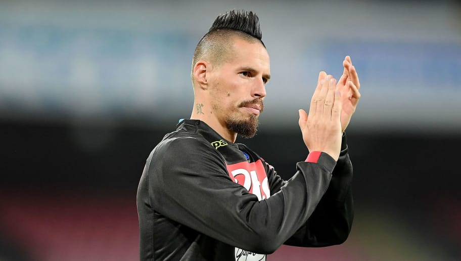 NAPLES, ITALY - OCTOBER 28: Marek Hamsik of SSC Napoli applauds after the Serie A match between SSC Napoli and AS Roma at Stadio San Paolo on October 28, 2018 in Naples, Italy.  (Photo by Francesco Pecoraro/Getty Images)