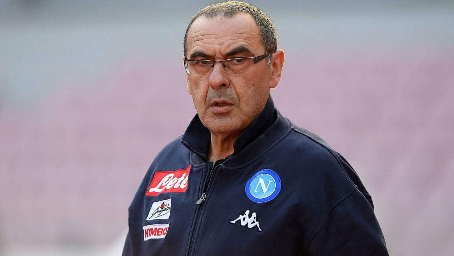 NAPLES, ITALY - JANUARY 28: Coach of SSC Napoli Maurizio Sarri looks on during the serie A match between SSC Napoli and Bologna FC at Stadio San Paolo on January 28, 2018 in Naples, Italy.  (Photo by Francesco Pecoraro/Getty Images)