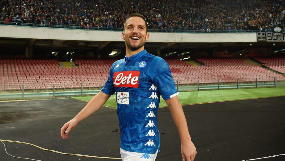 NAPLES, ITALY - NOVEMBER 02:  Dries Mertens of SSC Napoli celebrates after scoring the 5-1 goal during the Serie A match between SSC Napoli and Empoli at Stadio San Paolo on November 2, 2018 in Naples, Italy.  (Photo by Francesco Pecoraro/Getty Images)