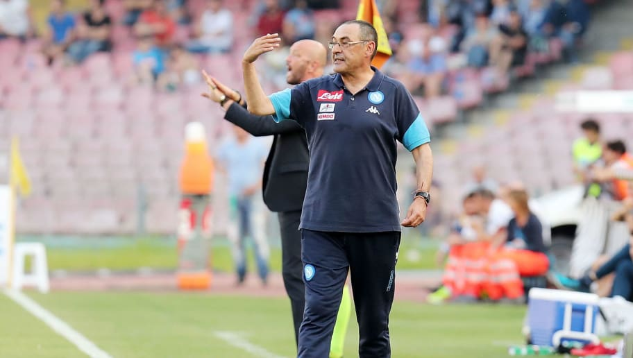 NAPLES, ITALY - MAY 20:  Maurizio Sarri coach of SSC Napoli gestures during the serie A match between SSC Napoli and FC Crotone at Stadio San Paolo on May 20, 2018 in Naples, Italy.  (Photo by Francesco Pecoraro/Getty Images)