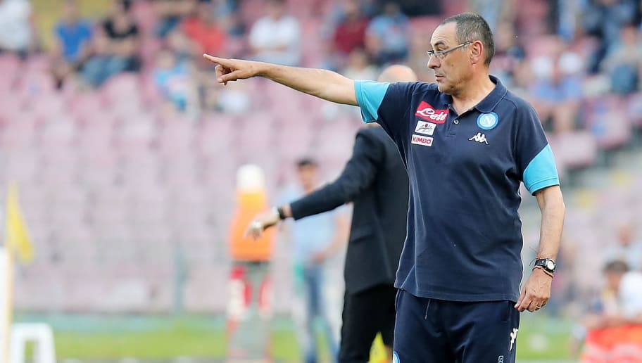 NAPLES, ITALY - MAY 20:  Coach of SSC Napoli Maurizio Sarri gestures during the Serie A match between SSC Napoli and FC Crotone at Stadio San Paolo on May 20, 2018 in Naples, Italy.  (Photo by Francesco Pecoraro/Getty Images)