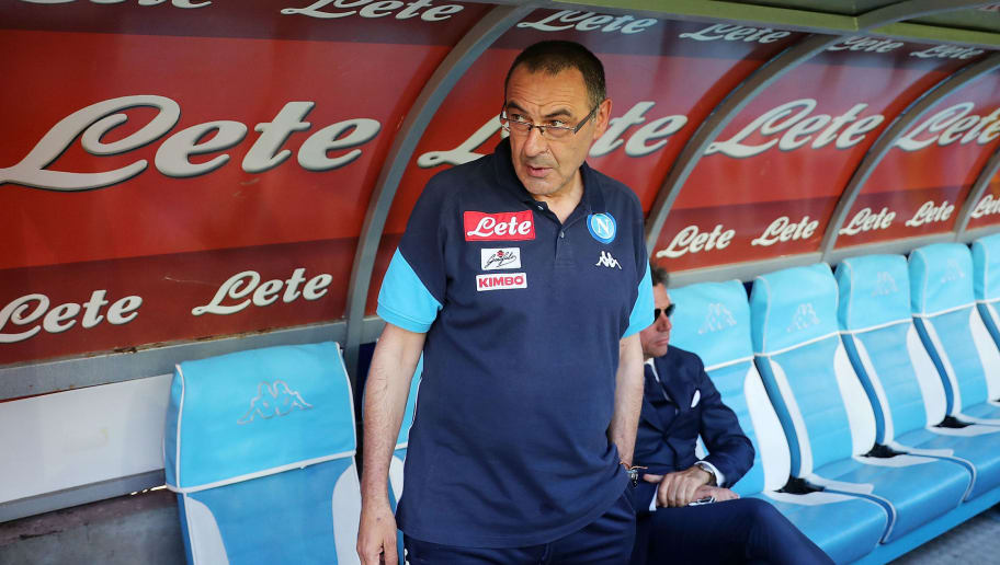 NAPLES, ITALY - MAY 20: Maurizio Sarri coach of SSC Napoli before the Serie A match between SSC Napoli and FC Crotone at Stadio San Paolo on May 20, 2018 in Naples, Italy.  (Photo by Francesco Pecoraro/Getty Images)