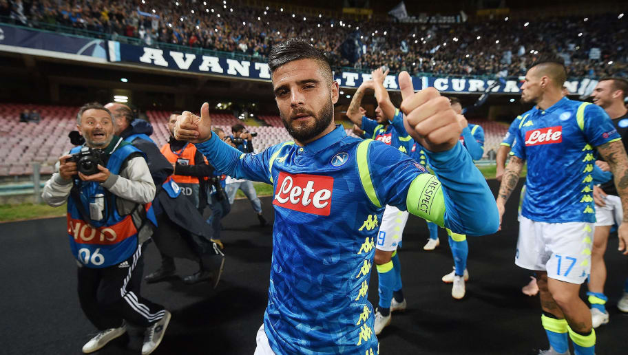 NAPLES, ITALY - OCTOBER 03:  Lorenzo Insigne player of SSC Napoli celebrates the victory after the Group C match of the UEFA Champions League between SSC Napoli and Liverpool at Stadio San Paolo on October 3, 2018 in Naples, Italy.  (Photo by Francesco Pecoraro/Getty Images)