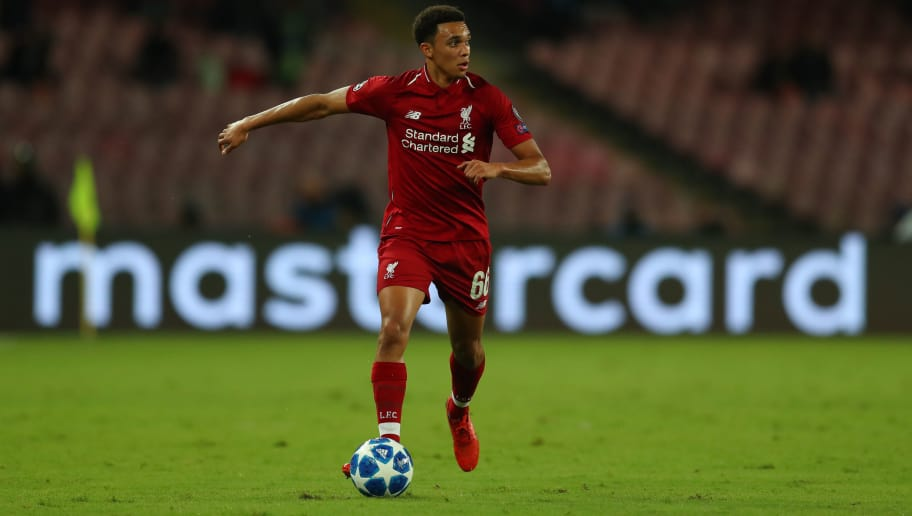 NAPLES, ITALY - OCTOBER 03: Trent Alexander-Arnold of Liverpool during the Group C match of the UEFA Champions League between SSC Napoli and Liverpool at Stadio San Paolo on October 3, 2018 in Naples, Italy. (Photo by Catherine Ivill/Getty Images)
