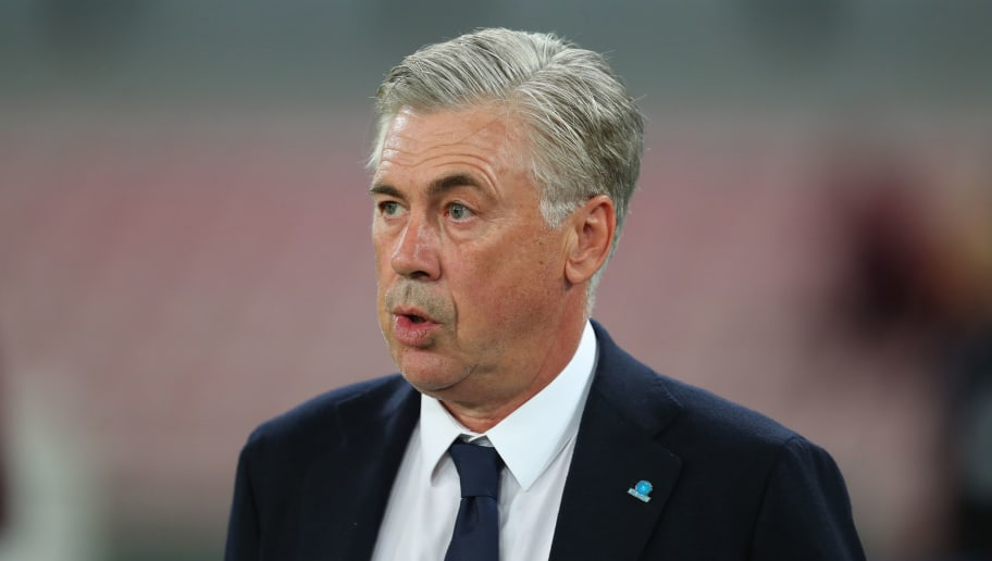 NAPLES, ITALY - OCTOBER 03: Carlo Ancelotti manager / head coach of Napoli before the Group C match of the UEFA Champions League between SSC Napoli and Liverpool at Stadio San Paolo on October 3, 2018 in Naples, Italy. (Photo by Catherine Ivill/Getty Images)