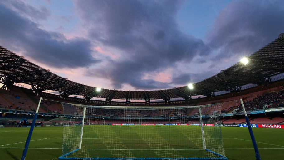 NAPLES, ITALY - OCTOBER 03: General view inside the stadium during a sunset before the Group C match of the UEFA Champions League between SSC Napoli and Liverpool at Stadio San Paolo on October 3, 2018 in Naples, Italy. (Photo by Catherine Ivill/Getty Images)