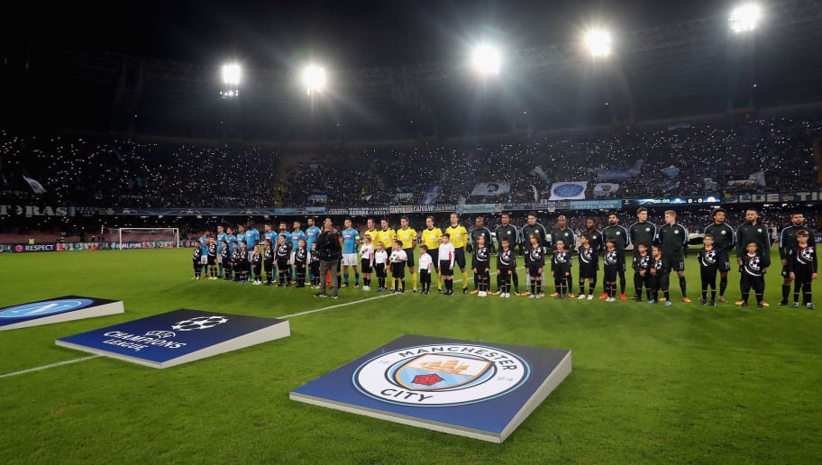 NAPLES, ITALY - NOVEMBER 01:  Players of Napoli  Manchester City line-up prior the UEFA Champions League group F match between SSC Napoli and Manchester City at Stadio San Paolo on November 1, 2017 in Naples, Italy.  (Photo by Maurizio Lagana/Getty Images)