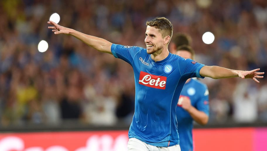 NAPLES, ITALY - AUGUST 16:  Jorginho of SSC Napoli celebrates after scoring goal 2-0 during the UEFA Champions League Qualifying Play-Offs Round First Leg match between SSC Napoli and OGC Nice at Stadio San Paolo on August 16, 2017 in Naples, Italy.  (Photo by Francesco Pecoraro/Getty Images)