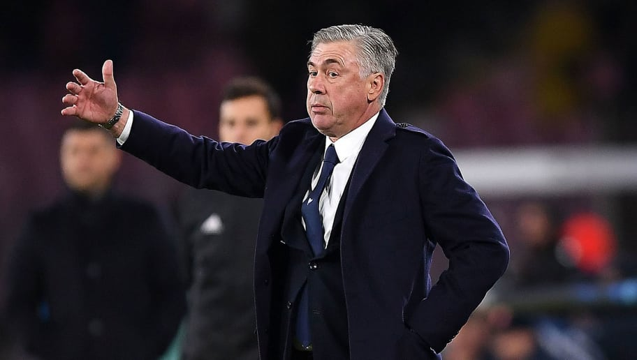 NAPLES, ITALY - NOVEMBER 28:  Coach of SSC Napoli Carlo Ancelotti during the Group C match of the UEFA Champions League between SSC Napoli and Red Star Belgrade at Stadio San Paolo on November 28, 2018 in Naples, Italy.  (Photo by Francesco Pecoraro/Getty Images)