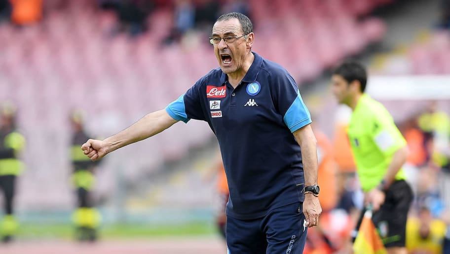 NAPLES, ITALY - MAY 06:  Coach of SSC Napoli Maurizio Sarri gestures during the serie A match between SSC Napoli and Torino FC at Stadio San Paolo on May 6, 2018 in Naples, Italy.  (Photo by Francesco Pecoraro/Getty Images)