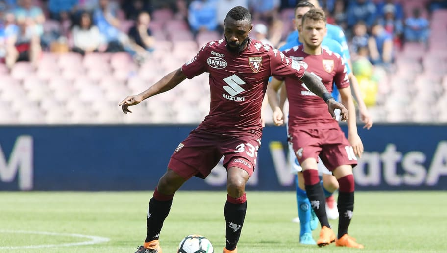 NAPLES, ITALY - MAY 06: Nicolas N'Koulou of Torino FC in action during the serie A match between SSC Napoli and Torino FC at Stadio San Paolo on May 6, 2018 in Naples, Italy.  (Photo by Francesco Pecoraro/Getty Images)