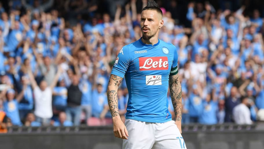 NAPLES, ITALY - MAY 06: Marek Hamsik of SSC Napoli celebrates after scoring the 2-1 goal during the serie A match between SSC Napoli and Torino FC at Stadio San Paolo on May 6, 2018 in Naples, Italy.  (Photo by Francesco Pecoraro/Getty Images)