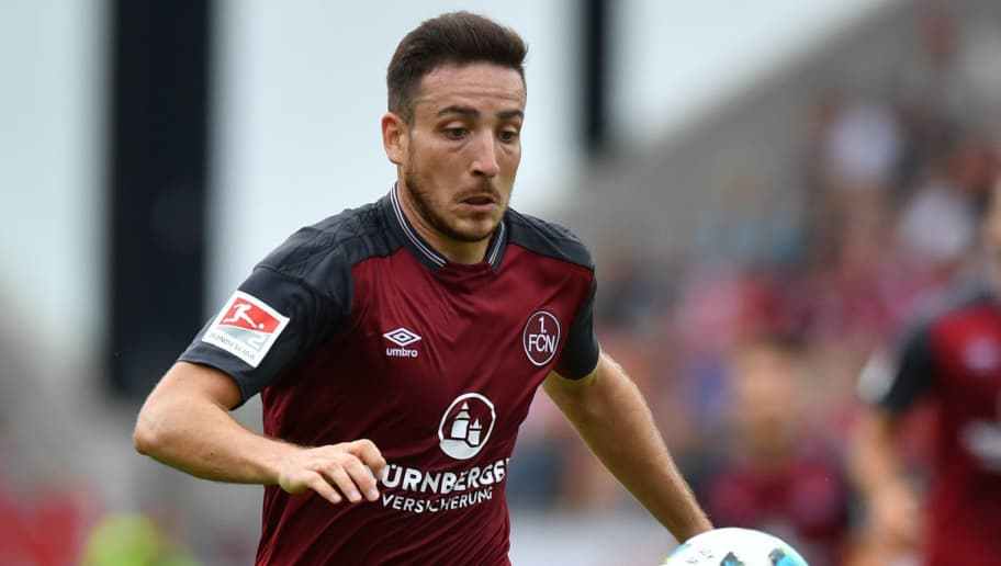 REGENSBURG, GERMANY - AUGUST 06: Kevin Moehwald of 1. FC Nuernberg plays the ball during the Second Bundesliga match between SSV Jahn Regensburg and 1. FC Nuernberg at Continental Arena on August 6, 2017 in Regensburg, Germany. (Photo by Sebastian Widmann/Bongarts/Getty Images)