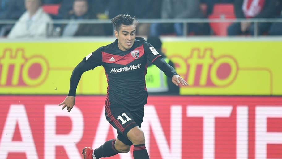 REGENSBURG, GERMANY - JANUARY 26: Dario Lezcano of Ingolstadt plays the ball during the Second Bundesliga match between SSV Jahn Regensburg and FC Ingolstadt 04 at Continental Arena on January 26, 2018 in Regensburg, Germany. (Photo by Sebastian Widmann/Bongarts/Getty Images)