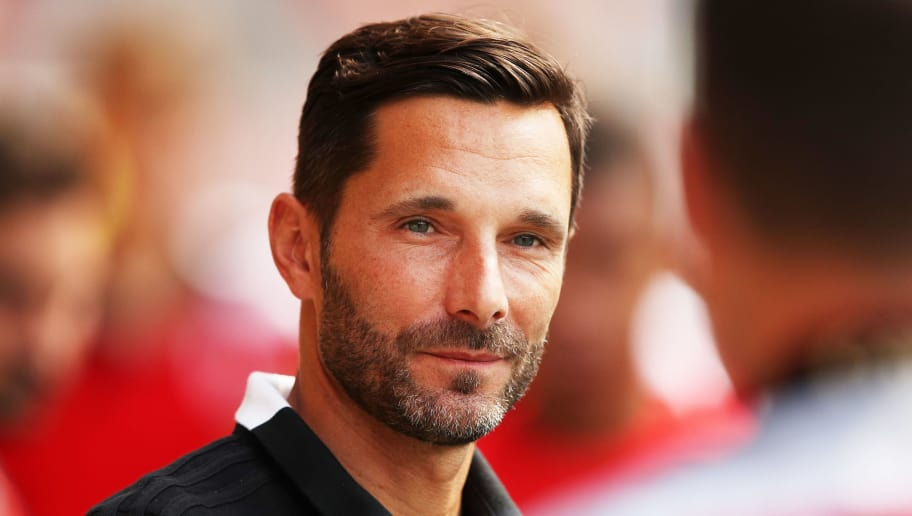 REGENSBURG, GERMANY - AUGUST 04:  Stefan Leitl head coach of Ingolstadt 04 during the Second Bundesliga match between SSV Jahn Regensburg and FC Ingolstadt 04 at Continental Arena on August 4, 2018 in Regensburg, Germany.  (Photo by Adam Pretty/Bongarts/Getty Images)
