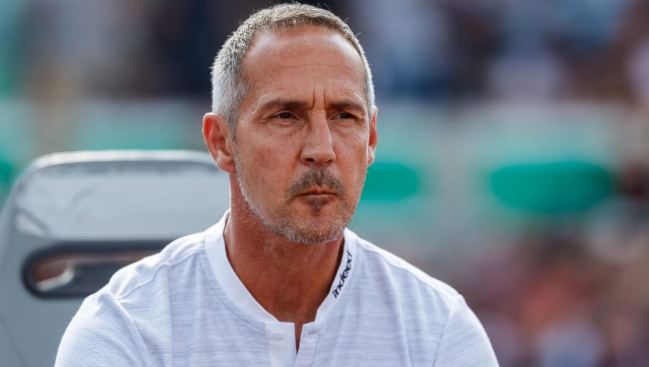 ULM, GERMANY - AUGUST 18: Head coach Adi Huetter of Eintracht Frankfurt looks on prior to the DFB Cup first round match between SSV Ulm 1846 Fussball and Eintracht Frankfurt at Donaustadion on August 18, 2018 in Ulm, Germany. (Photo by TF-Images/Getty Images)