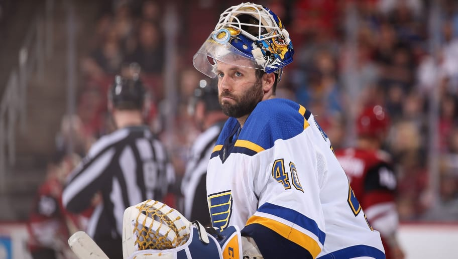 GLENDALE, AZ - MARCH 31:  Goaltender Carter Hutton #40 of the St. Louis Blues skates back to the net during a break from the third period of the NHL game against the Arizona Coyotes at Gila River Arena on March 31, 2018 in Glendale, Arizona.  (Photo by Christian Petersen/Getty Images)