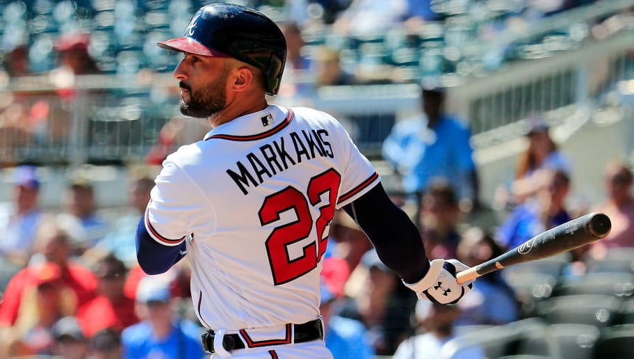 ATLANTA, GA - SEPTEMBER 19: Nick Markakis #22 of the Atlanta Braves drives in a run during the seventh inning against the St. Louis Cardinals at SunTrust Park on September 19, 2018 in Atlanta, Georgia. (Photo by Daniel Shirey/Getty Images)