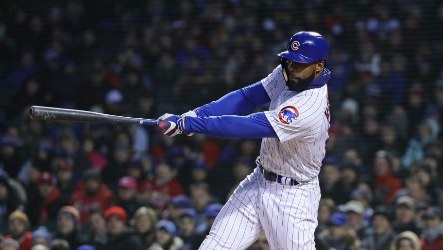 CHICAGO, IL - APRIL 17:  Jason Heyward #22 of the Chicago Cubs bats against the St. Louis Cardinals at Wrigley Field on April 17, 2018 in Chicago, Illinois. The Cardinals defeated the Cubs 5-3.  (Photo by Jonathan Daniel/Getty Images)