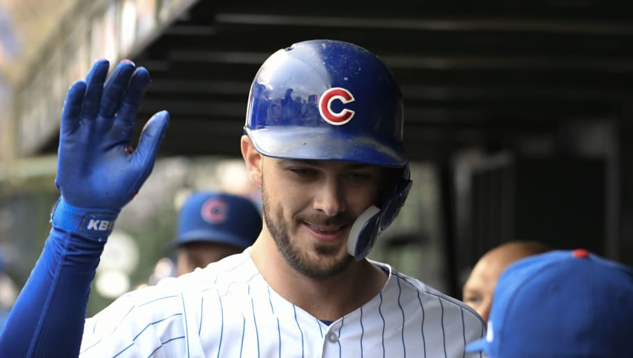CHICAGO, IL - SEPTEMBER 28: Kris Bryant #17 of the Chicago Cubs in the dugout after hitting a home run against the St. Louis Cardinals on September 28, 2018 at Wrigley Field  in Chicago, Illinois. The Cubs won 8-4. (Photo by David Banks/Getty Images)