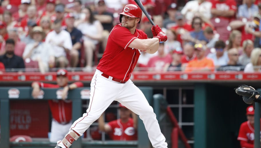 CINCINNATI, OH - JUNE 09: Scott Schebler #43 of the Cincinnati Reds bats during a game against the St. Louis Cardinals at Great American Ball Park on June 9, 2018 in Cincinnati, Ohio. The Cardinals won 6-4. (Photo by Joe Robbins/Getty Images)