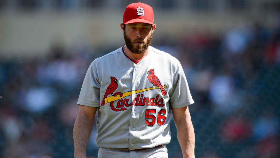 MINNEAPOLIS, MN - MAY 16: Greg Holland #56 of the St. Louis Cardinals looks on during the interleague game against the Minnesota Twins on May 16, 2018 at Target Field in Minneapolis, Minnesota. The Cardinals defeated the Twins 7-5. (Photo by Hannah Foslien/Getty Images)