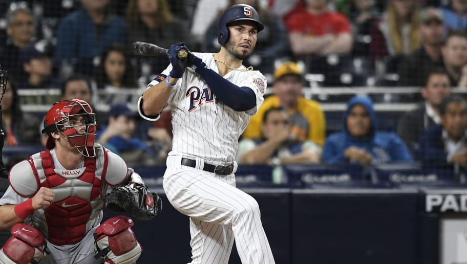 SAN DIEGO, CA - MAY 12: Eric Hosmer #30 of the San Diego Padres hits a walk off double during the game against the St. Louis Cardinals at PETCO Park on May 12, 2018 in San Diego, California. (Photo by Andy Hayt/San Diego Padres/Getty Images) *** Local Caption *** Eric Hosmer