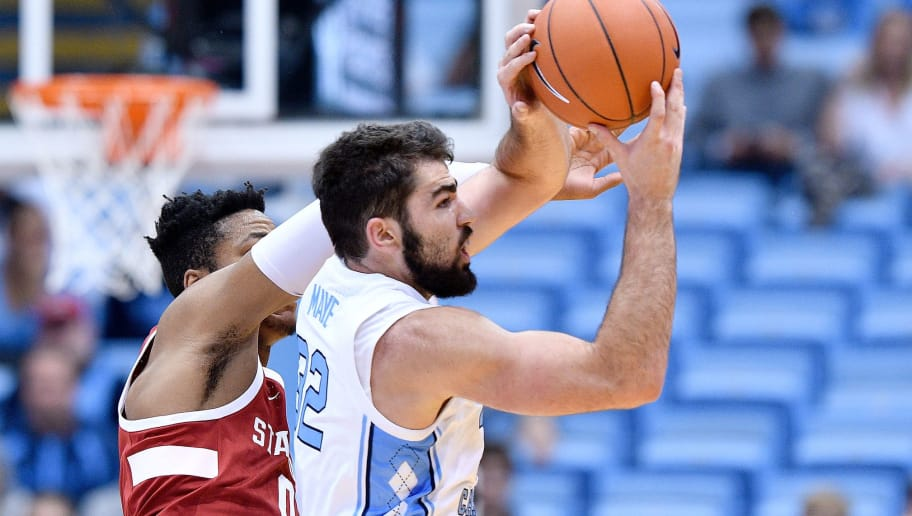 CHAPEL HILL, NORTH CAROLINA - NOVEMBER 12: Luke Maye #32 of the North Carolina Tar Heels battles KZ Okpala #0 of the Stanford Cardinal for a long rebound during their game at the Dean Smith Center on November 12, 2018 in Chapel Hill, North Carolina. North Carolina won 90-72. (Photo by Grant Halverson/Getty Images)