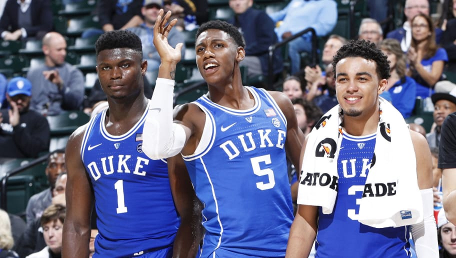 INDIANAPOLIS, IN - NOVEMBER 06: Zion Williamson #1, RJ Barrett #5 and Tre Jones #3 of the Duke Blue Devils react from the bench during the State Farm Champions Classic against the Kentucky Wildcats at Bankers Life Fieldhouse on November 6, 2018 in Indianapolis, Indiana. Duke defeated Kentucky 118-84. (Photo by Joe Robbins/Getty Images)