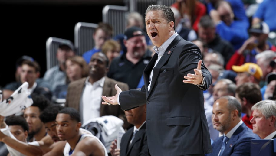 INDIANAPOLIS, IN - NOVEMBER 06: Head coach John Calipari of the Kentucky Wildcats reacts during the State Farm Champions Classic against the Duke Blue Devils at Bankers Life Fieldhouse on November 6, 2018 in Indianapolis, Indiana. Duke defeated Kentucky 118-84. (Photo by Joe Robbins/Getty Images)