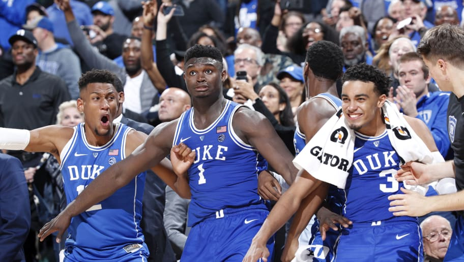 INDIANAPOLIS, IN - NOVEMBER 06: Javin DeLaurier #12, Zion Williamson #1 and Tre Jones #3 of the Duke Blue Devils react during the State Farm Champions Classic against the Kentucky Wildcats at Bankers Life Fieldhouse on November 6, 2018 in Indianapolis, Indiana. Duke defeated Kentucky 118-84. (Photo by Joe Robbins/Getty Images)