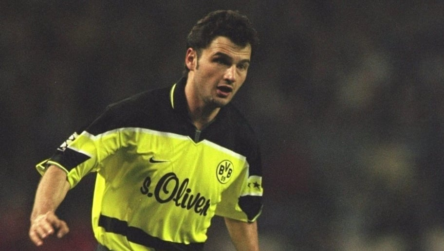 1 Apr 1998:  Stephane Chapuisat of Switzerland and Borussia Dortmund in action during the match between Real Madrid and Borussia Dortmund in the Champions League Semi-Finals played at the Bernabeu Stadium, Madrid, Spain. Real Madrid won the match 2-0. \ Mandatory Credit: Stu Forster /Allsport